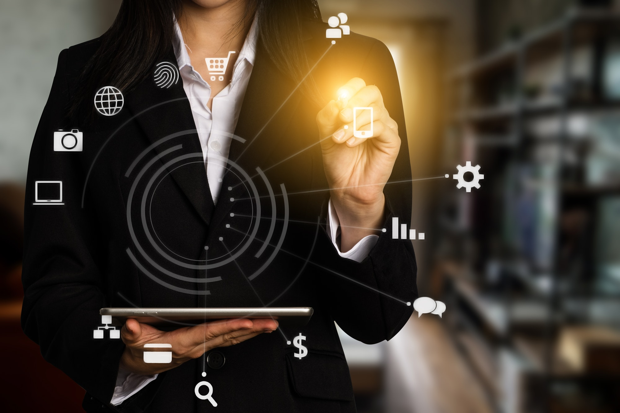 Digital marketing media in virtual icon globe shape business open his hand
