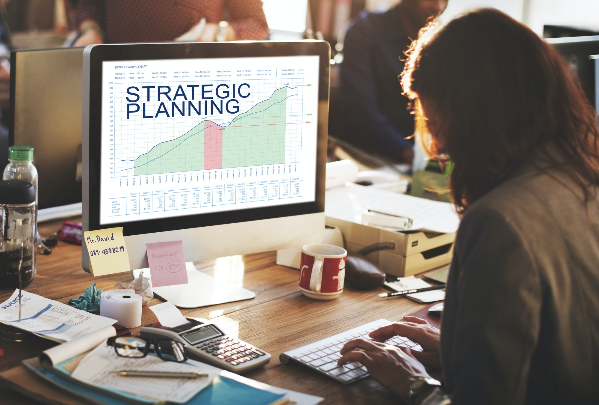 Strategic Plan Graphs Business Marketing Goals concept